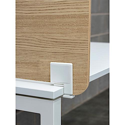 Senator Freestanding Desk Screen 800mm wide Variation with Desk Edge Clamp - White MFC Finish (ABA2DEF-WH)