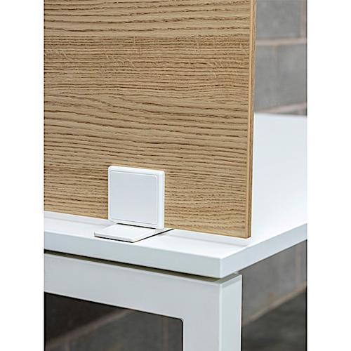 Senator Freestanding Desk Screen 1400mm wide Variation on Stabilising Feet - White MFC Finish (ABA2DS14-WH)