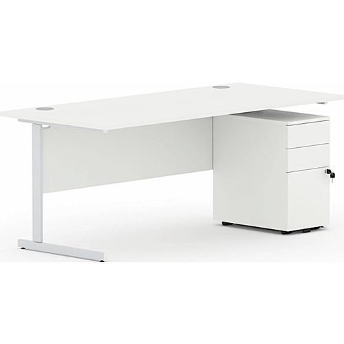 Torasen Aspen Rectangular Desk 800mm White AS8WH