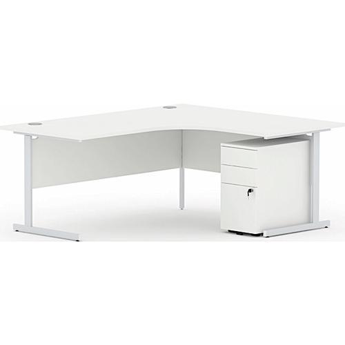 Torasen Aspen Right Hand Radial Desk 1800mm White ASRS18RWH