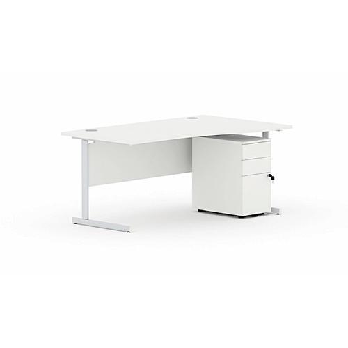 Torasen Aspen Left Hand Wave Desk 1600mm White ASSW16LWH