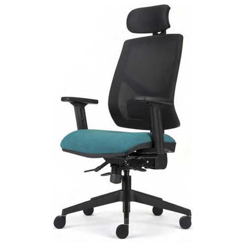 Torasen Zeus Headrest, HA Arms, Indep Mech, Seat Slide/Lumbar - Black Mesh/Phoenix Havana (ZU717HA)