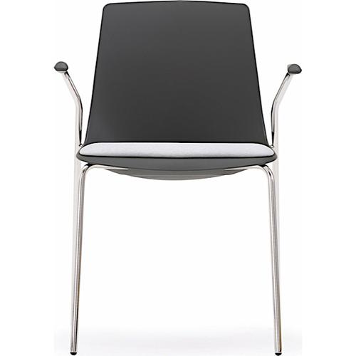 Arlo Side Chair - Full Plastic Frame with 4 Leg Frame & Arms - Full Black Finish (ARL10A)