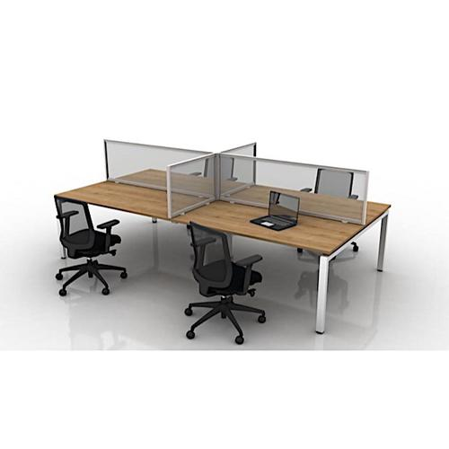 Border Desk Mounted Easy Clean Screen (1400w x 700h) with Clamp Mounts -  Toughened Safety Glass/Silver Frame (BO/07.14DSG)