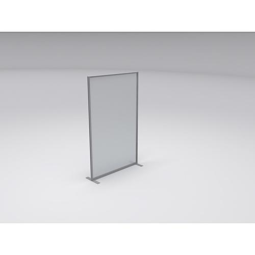 Border Floorstanding Easy Clean Screen (1000w x 1800h) with Stabilising T Feet - Toughened Safety Glass/Silver Frame (BO/18.10FSG)