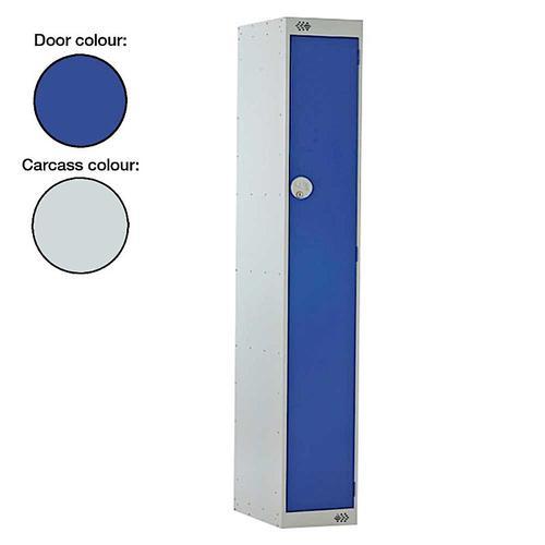 Link Single Door Locker Grey Body Blue Doors Deadlock 1800h x 300w x 450d mm Ref B12511GUCF00