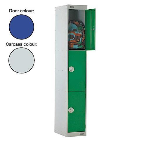 Link Three Door Locker Grey Body Blue Doors Deadlock 1800h x 300w x 450d mm Ref B12513GUCF00