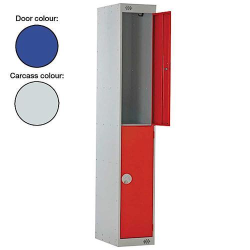 Link Two Door Locker Grey Body Blue Doors Deadlock Nest of 3 1800h x 300w x 450d mm Ref B12532GUCF00