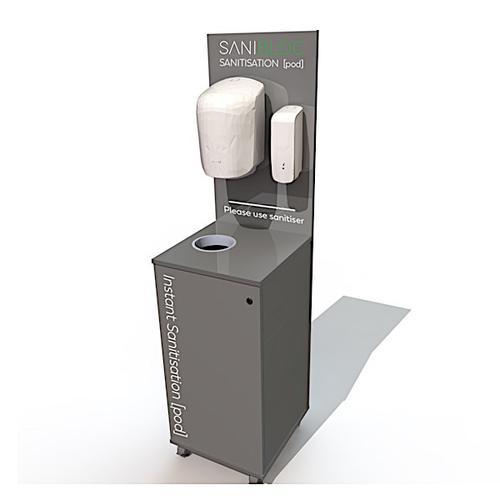 Sanibloc POD100 Portable Sanitation Pod with Auto-Touchless 1L Dispenser / Waste Bin / Towel  Dispenser & Lockable Storage