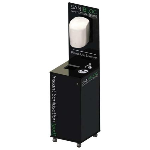 Sanibloc POD150V Portable Sanitation Pod with MANUAL Push Tap 5L Dispenser & Drip Bowl / Bin / Towel  Dispenser & Lockable Storage