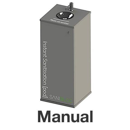 Sanibloc POD200M Sanitation Pod with MANUAL Push Tap 5L/25L Dispenser & Drip Bowl & Lockable Storage