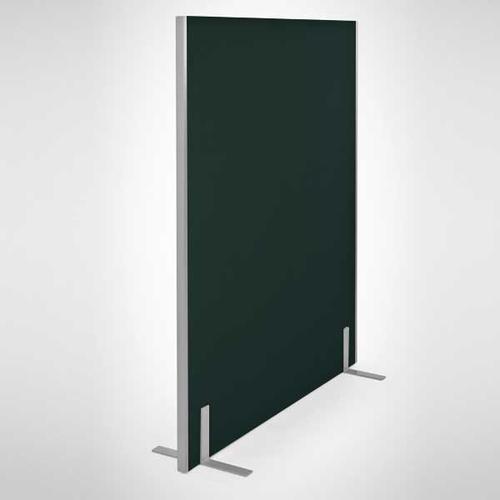 Entry Range Floor Standing Straight Screen (1600h x 1600w) Cara Black Fabric/Silver (EL16.16)