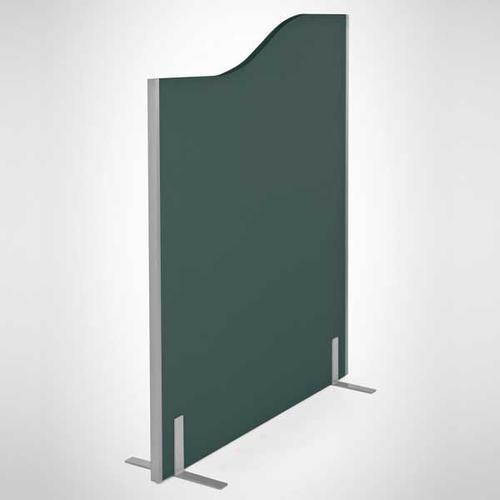 Entry Range Floor Standing Wave Screen (1400/1200h x 1200w) Cara Black Fabric/Silver (EL/14-12.12W)