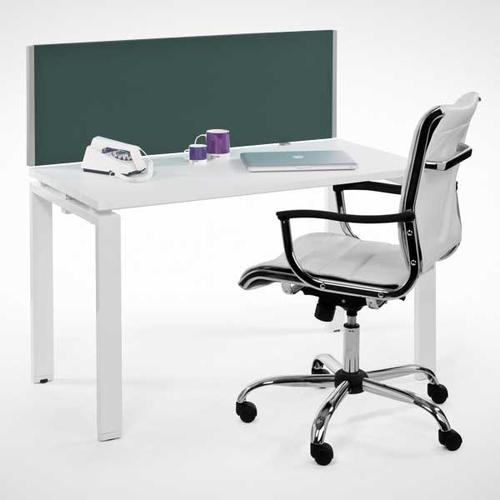 Entry Range Rectangular Desk Mounted Screen (400h x 1200w) Cara Black Fabric/Silver (EL/04.12D)