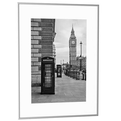 Fast Paper Decoration Frames 30x40cm Plexi-Glass Brushed Aluminium SILVER [Pack 6] 6CCF 30X40.35
