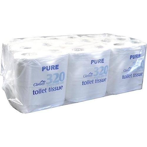 Glensoft Pure Toilet Rolls 2-Ply White 320 Sheets 90x105mm 32PURE [Pack 36]