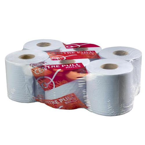 Glensoft Centrefeed Rolls 2-Ply Blue 195mm x 150m Roll CASE140 [Pack 6]