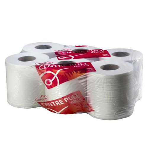 Glensoft Centrefeed Rolls 2-Ply White 195mm x 150m Roll CASE135 [Pack 6]
