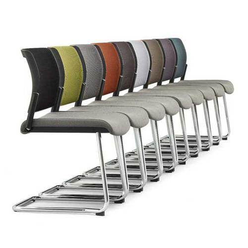 Kind Mesh Back Meeting Chair - No Arms & Cantilever - Black Mesh/Phoenix Havana/Black Frame (KDMC51B