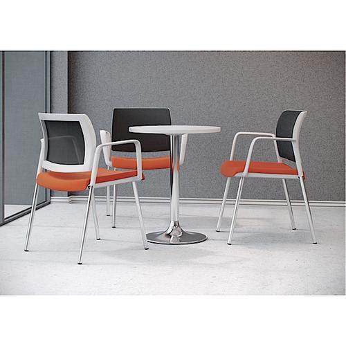 Kind Mesh White Meeting Chair w Fixed Arms & 4 Leg Frame-Black Mesh/Phoenix Havana/Chrome (KDMC22WC)