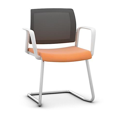 Kind Mesh White Meeting Chair w Fixed Arms & Cantilever - Black Mesh/Phoenix Havana/Chrome(KDMC52WC
