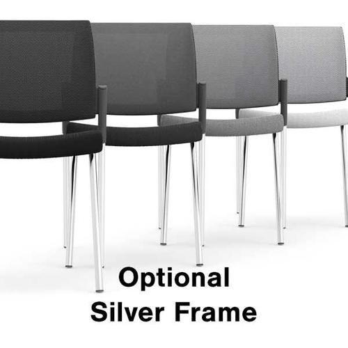 Kind Mesh White Meeting Chair - Addition of Silver Frame (P)