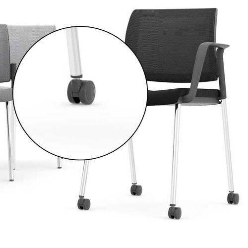Kind Mesh White Meeting Chair - Addition of Castor Pack (CS)