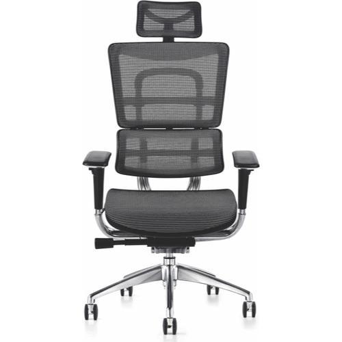 i29 Mesh Back Ergonomic Task Chair w/ Fabric Seat & Headrest - Black (i29-801+HR-YK)