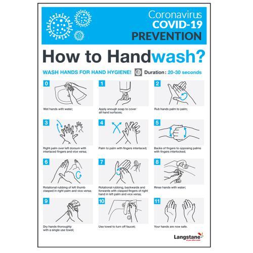 Langstane Covid-19 Prevention Poster - How to Handwash A3 200gsm [Pack 3]