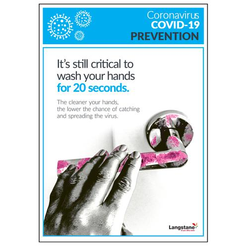 Langstane Covid-19 Prevention Poster - Wash your Hands A4 200gsm [Pack 5]