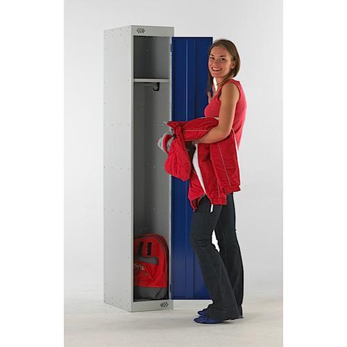 Link Single Door Locker Grey Body Blue Doors Deadlock Nest of 3 1800h x 300wx300dmm Ref B12231GUCF00