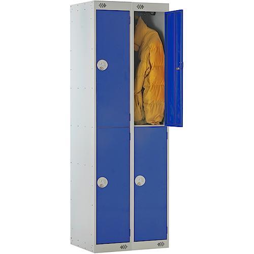 Link Two Door Locker Grey Body Blue Doors Deadlock Nest of 2 1800h x 300wx300dmm Ref B12222GUCF00