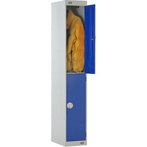 Link Two Door Locker Grey Body Blue Doors Deadlock 1800h x 300w x 450d mm Ref B12512GUCF00