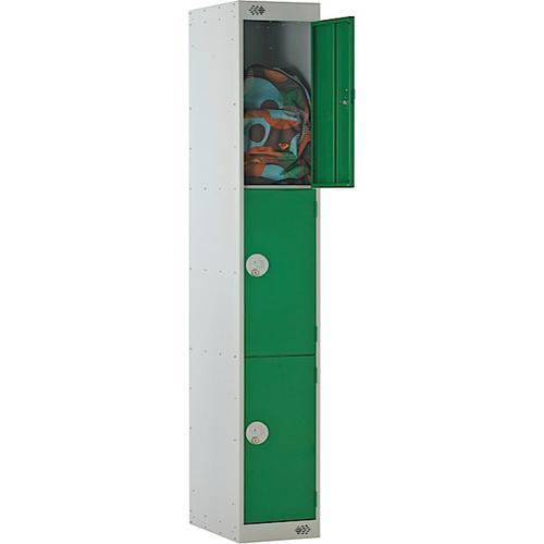 Link Three Door Locker Grey Body Blue Doors Deadlock 1800h x 300w x 300d mm Ref B12213GUCF00