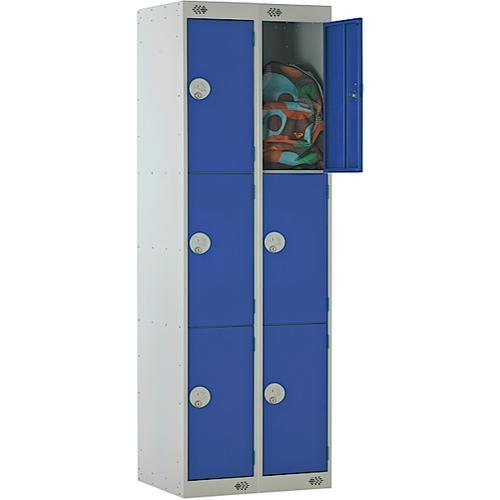 Link Three Door Locker Grey Body Blue Doors Deadlock Nest of 2 1800h x 300wx300dmm Ref B12223GUCF00