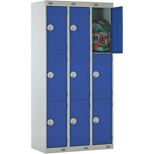 Link Three Door Locker Grey Body Blue Doors Deadlock Nest of 3 1800h x 300wx450dmm Ref B12533GUCF00