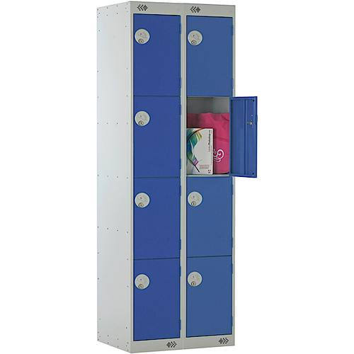 Link Four Door Locker Grey Body Blue Doors Deadlock Nest of 2 1800h x 300wx300dmm Ref B12224GUCF00