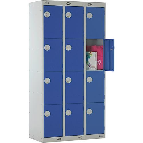 Link Four Door Locker Grey Body Blue Doors Deadlock Nest of 3 1800h x 300wx450dmm Ref B12534GUCF00