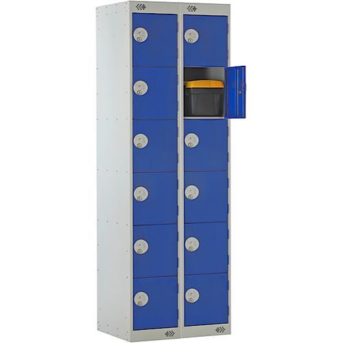Link Six Door Locker Grey Body Blue Doors Deadlock Nest of 2 1800h x 300wx450dmm Ref B12526GUCF00
