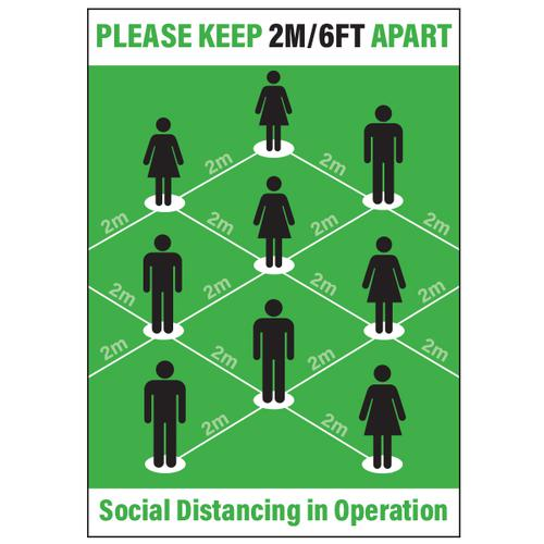 Langstane Social Distancing Poster - Please Keep 2m/6ft Apart (Green) A4 200gsm [Pack 5]