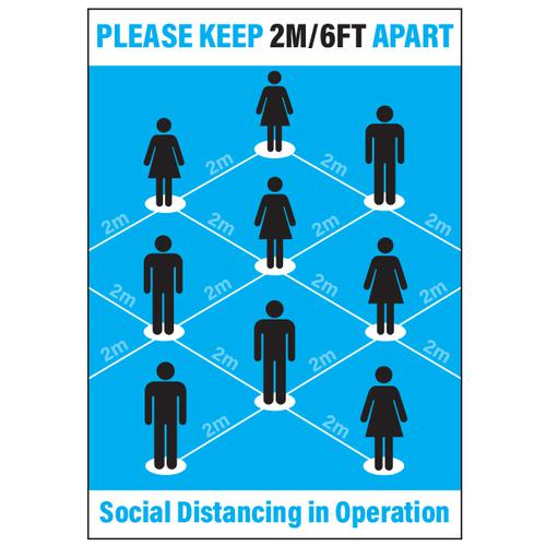 Langstane Social Distancing Poster - Please Keep 2m/6ft Apart (Blue) A2 200gsm