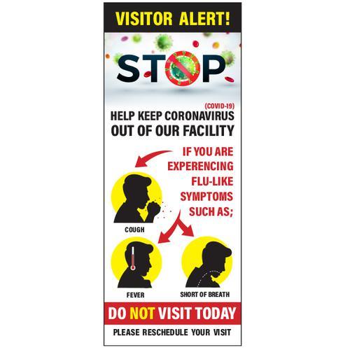Langstane Pop Up Roller Banner - Visitor Alert (Covid-19) 800mm x 2000mm - Canvas Bag Included