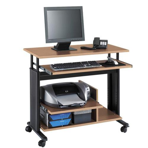 Safco Muv Height-Adjustable Mini Tower Desk Workstation Cherry 1927CY