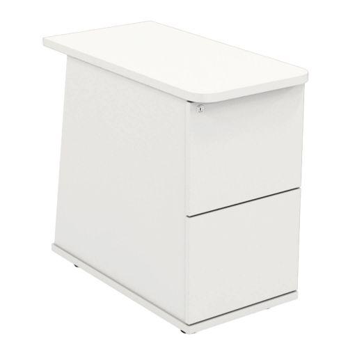 L&P ASCEND 2 Drawer Desk High Ped White/White