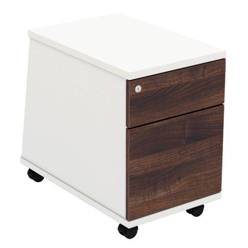 L&P ASCEND 2D Mobile Pedestal White/Walnut