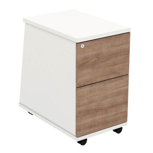 L&P ASCEND 2 Drawer Under Desk Ped White/Birch