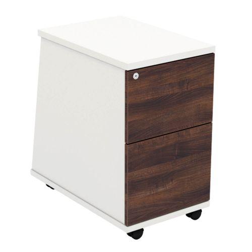 L&P ASCEND 2 Drawer Under Desk Ped White/Walnut