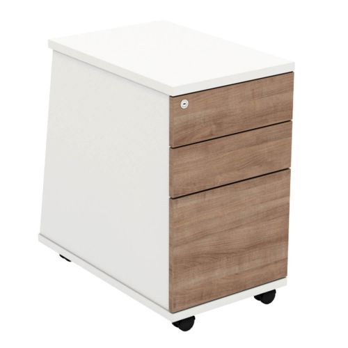 L&P ASCEND 3 Drawer Under Desk Ped White/Birch