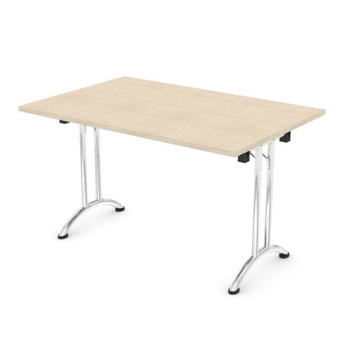 L&P FOLDING Rectangular Table 1200mm Chrome Maple