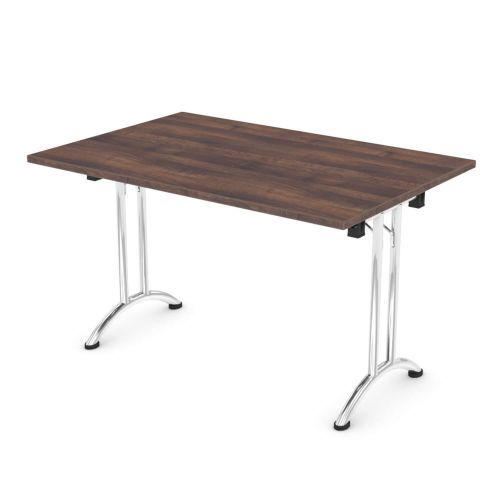 L&P FOLDING Rectangular Table 1200mm Chrome Walnut
